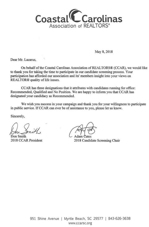 CCAR LAZARUS ENDORSEMENT